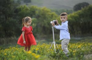 kids taking photographs
